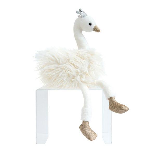 Doudou Glitter Swan White 30cm