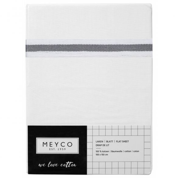 Meyco Cotton Cot Sheet White with Lurex Piping 75 x 100
