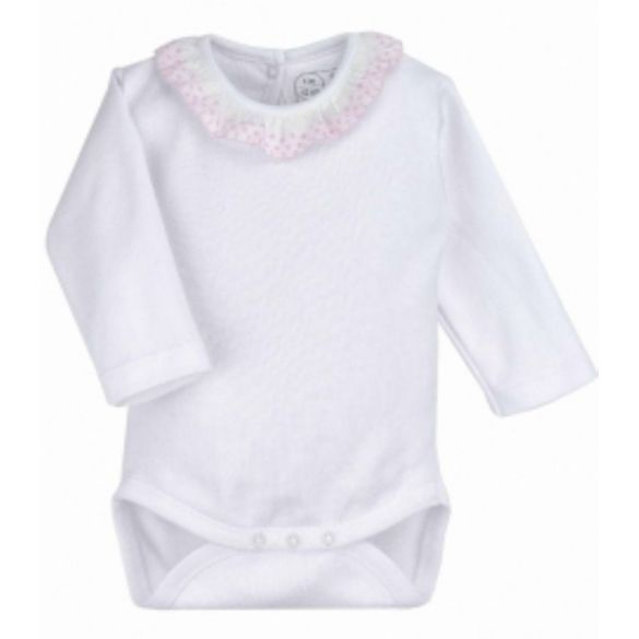 Rapife Bodysuit White and Pink Broderie Collar