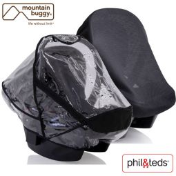 Rain Cover and Mosquitonet for the Mountain Buggy Protect and Phil&Teds Alpha Car Seat