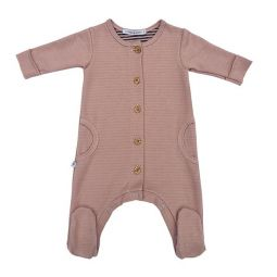 Bamboom Jumpsuit Pink/Grey with Footies