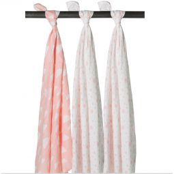 Meyco 3-pack Dots-Clouds-Dots roze/wit-Swaddles