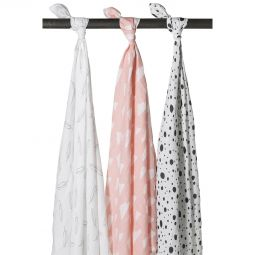 Meyco 3-pack Feather-Clouds-Dots roze/wit/grijs/zwart-Swaddles
