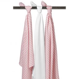 Meyco 3-pack Swaddles Knitted Heart-White-Knitted Heart