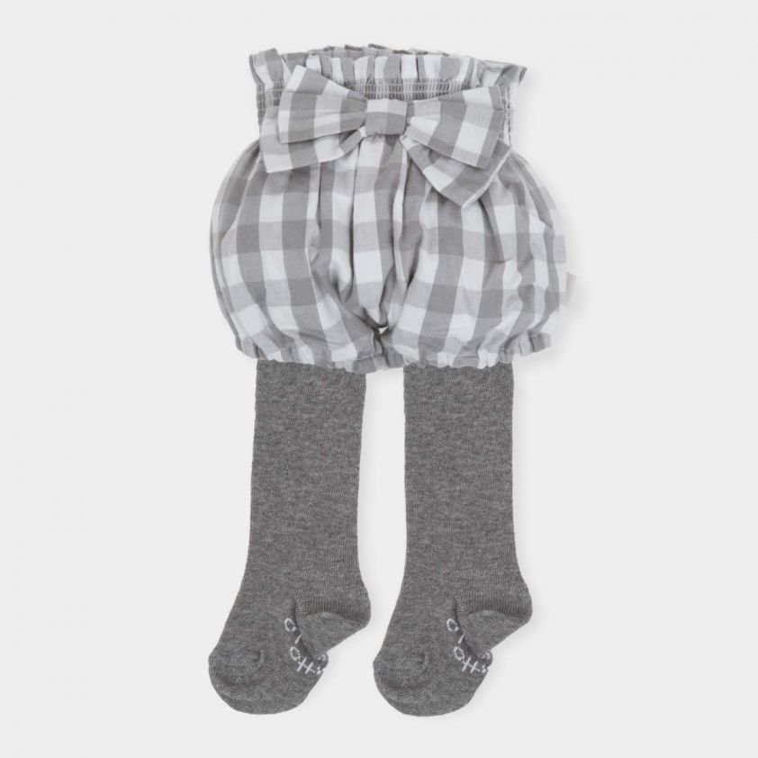 Tutto Piccolo Grey Short with Bow and Tights